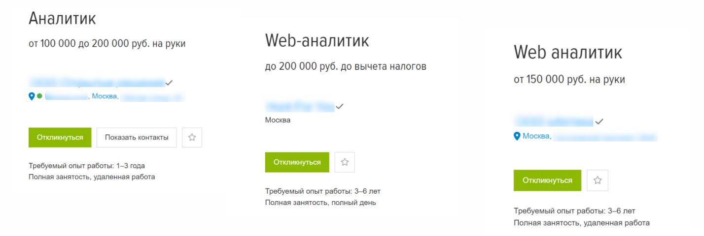 Зарплата веб-аналитика с опытом