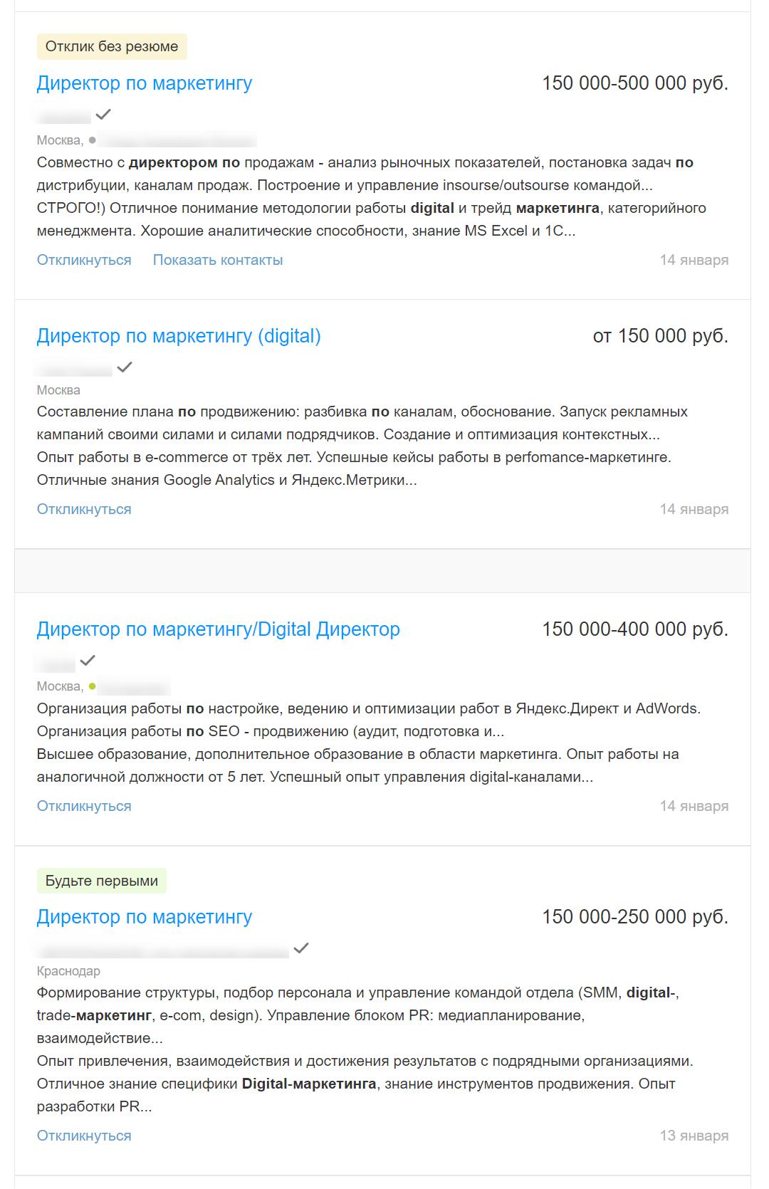 Сколько получает директор по интернет-маркетингу по России