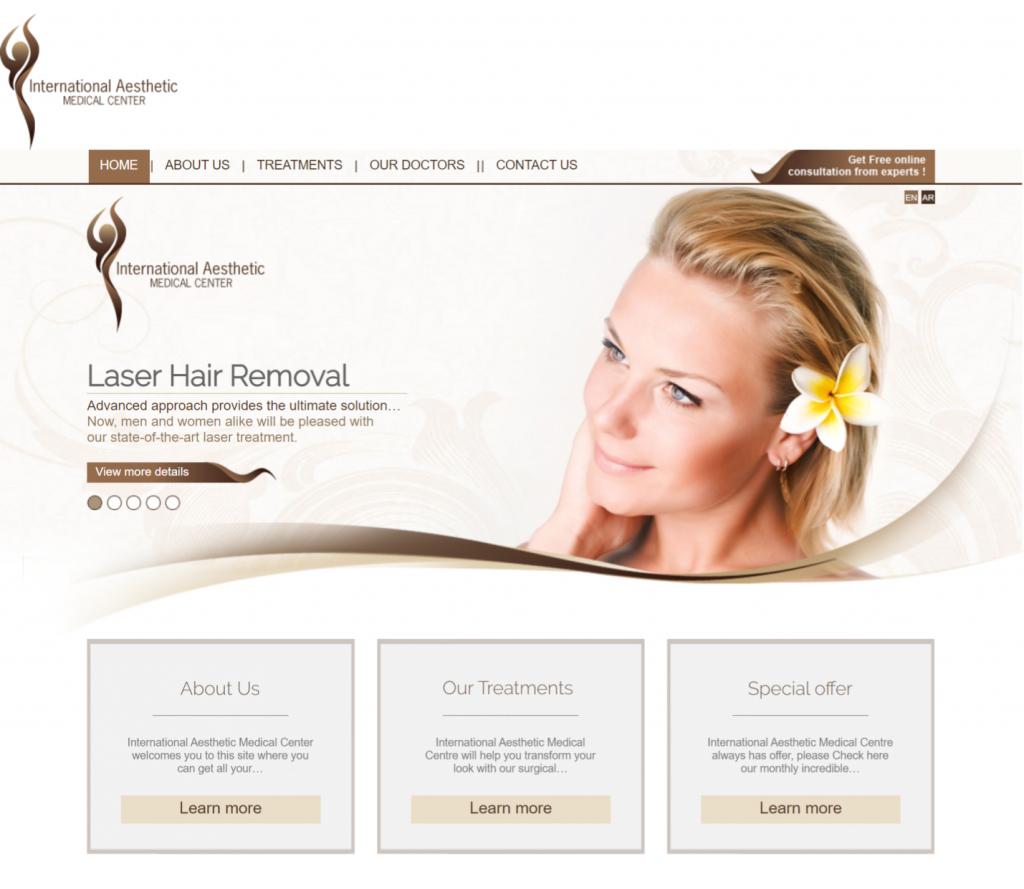 Сайт клиники IAMC - вид главной страницы до старта маркетинговых работ