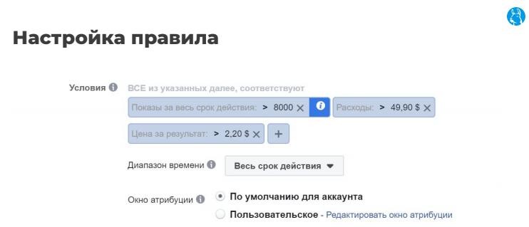 Пример правила для настройки автоматизации кампании в Facebook Ads