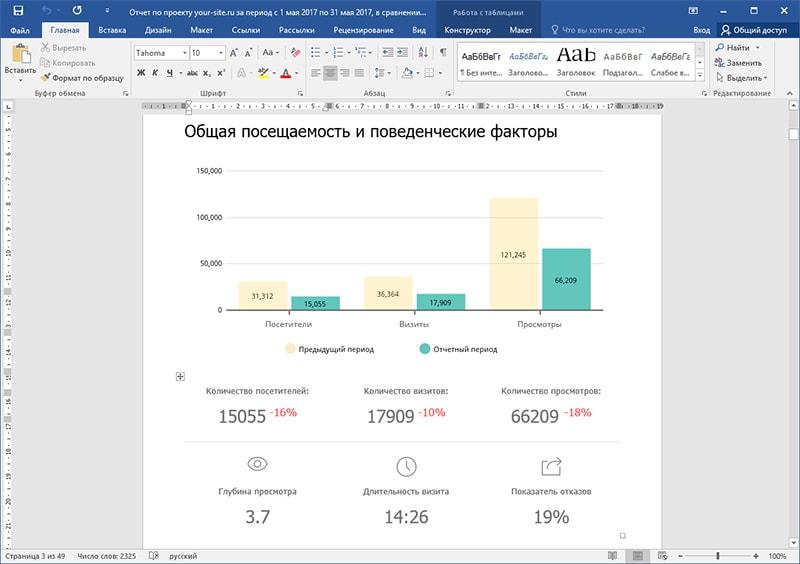 Экспорт автоматически сгенерированного отчета в Word