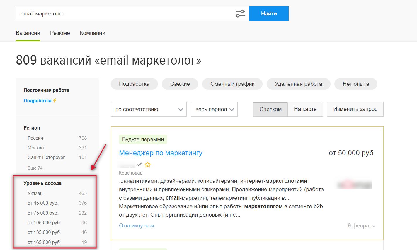 Уровень зарплаты специалиста по емейл маркетингу в России